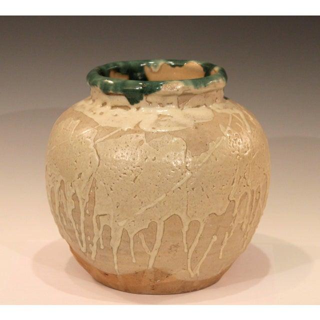 Modern Vintage Awaji Pottery Large Japanese Jar Dripped and Splashed Glaze Vase For Sale - Image 3 of 9