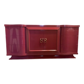 Berry Lacquered Credenza by Tri-Bond For Sale