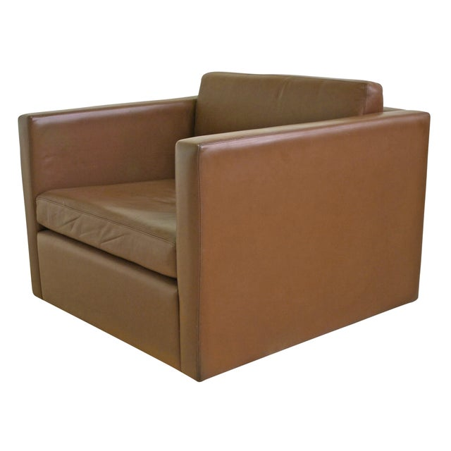 Knoll Pfister Brown Leather Club Chair - 4 Avail. - Image 1 of 6