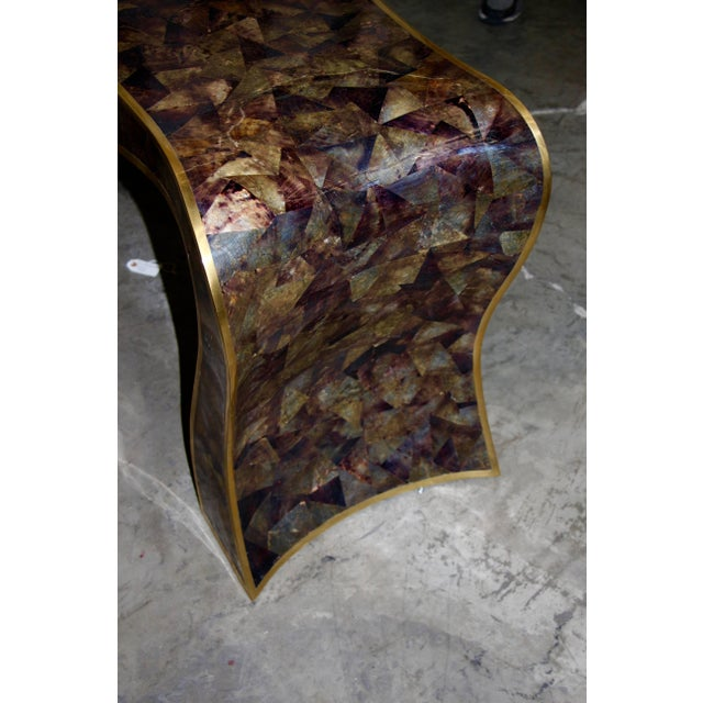 Maitland-Smith Tessellated Horn and Brass Trimmed Sculptural Console Table For Sale - Image 4 of 8