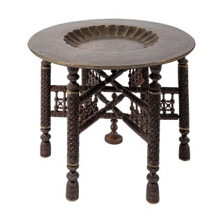 Anglo-Indian Engraved Round Brass Tray Coffee Table on Carved Wooden Stand For Sale
