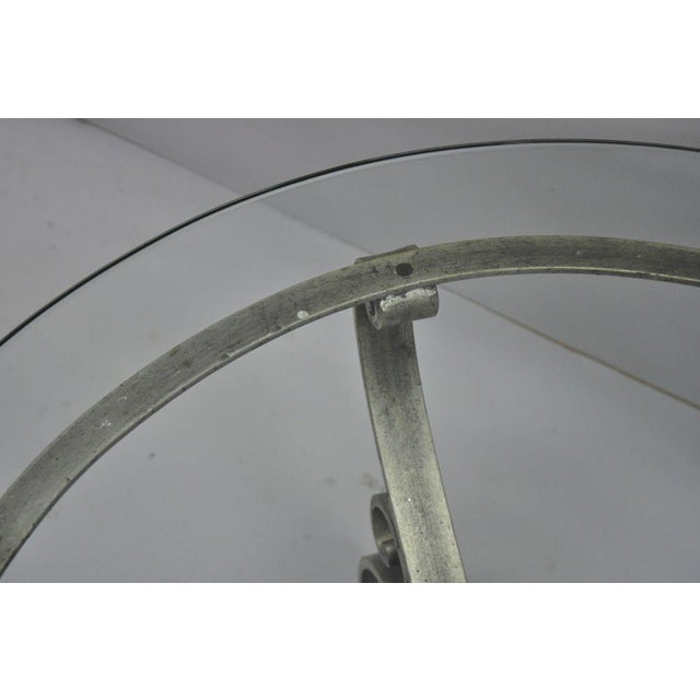 Late 20th Century Vintage Scrolling Iron & Glass Top Coffee Table For Sale - Image 9 of 11