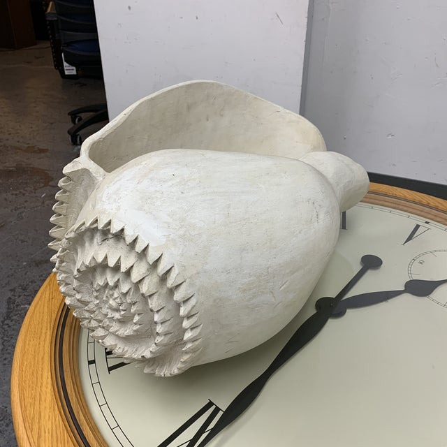 White Mid-20th Century Carved Wood White Conch Shell For Sale - Image 8 of 8