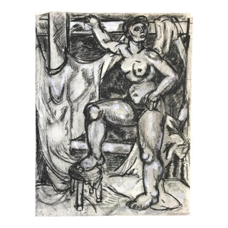 1940s Charcoal and Chalk Female Nude Drawing