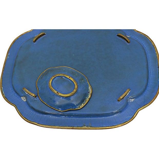 """Antique French Cloisonné desk set. Dimensions: large tray, 11.5""""L x 9.5""""W x .75""""H; small tray, 4""""L x 3.25""""W x .25""""H; large..."""