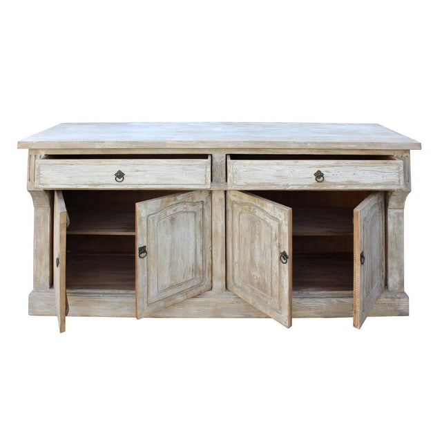 Chinese distressed finish high credenza console buffet