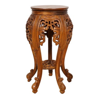 Chinese Antique Carved Rosewood Plant Stand For Sale