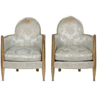 1930s Vintage Paul Follot French Art Deco Club Chairs - a Pair