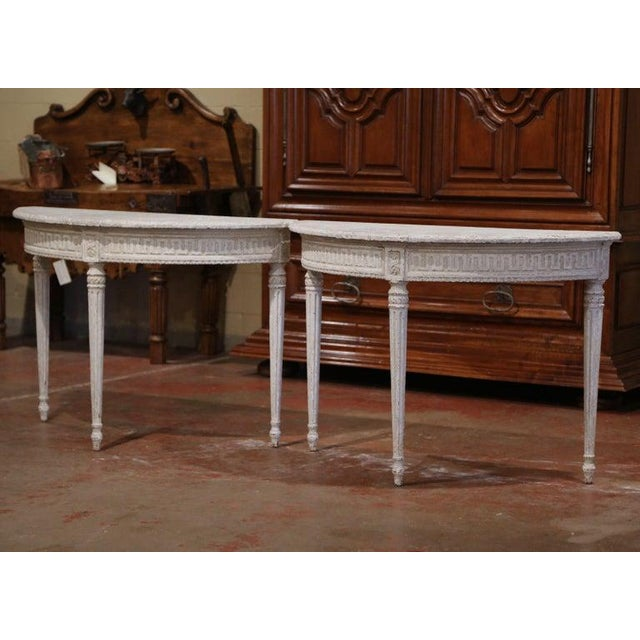 White 19th Century French Louis XVI Carved Painted Demilune Console Tables-a Pair For Sale - Image 8 of 11