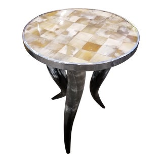 Organic Modern Ox Horn Round Side Table For Sale