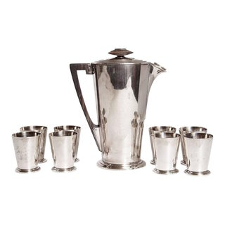 Ile de France Art Deco Meriden International Silver Cocktail Set with Eight Cups