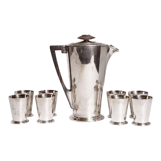 Ile de France Art Deco Meriden International Silver Cocktail Set with Eight Cups For Sale