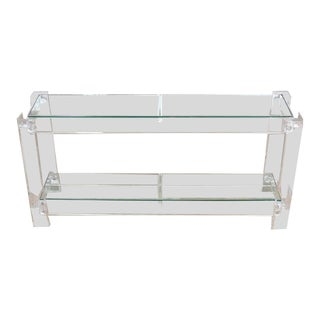 Mid-Century Modern Two Tier Long Lucite Console Table For Sale