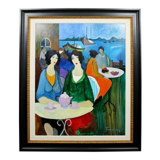 1970s Mid Century Modern Itchak Tarkay Afternoon Thoughts Original Acrylic Painting For Sale