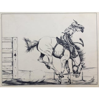 Bucking Bronco Western Art Original Pen & Ink Drawing, 1961 For Sale