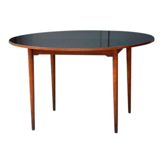 Mid Century Scandinavian Black Laminate Top Teak Table For Sale