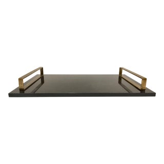 Modern Arteriors Antique Brass and Stone Exton Tray For Sale