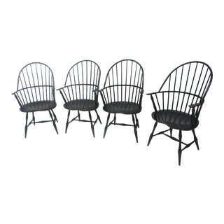 Black Distressed Windsor Chairs - Set of 4