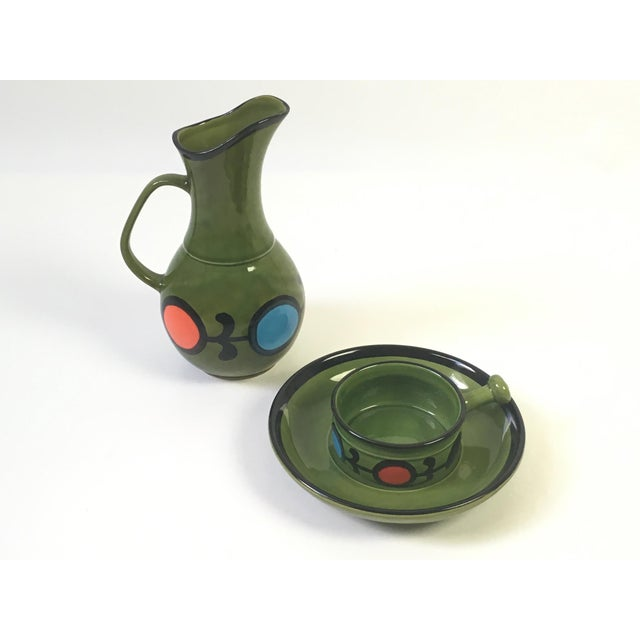 1960s Hand Painted Ceramic Pitcher & Serving Set For Sale - Image 4 of 8