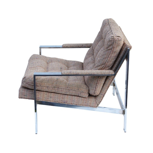 Metal Cy Mann Chrome Flatbar Lounge Chairs, Pair For Sale - Image 7 of 11