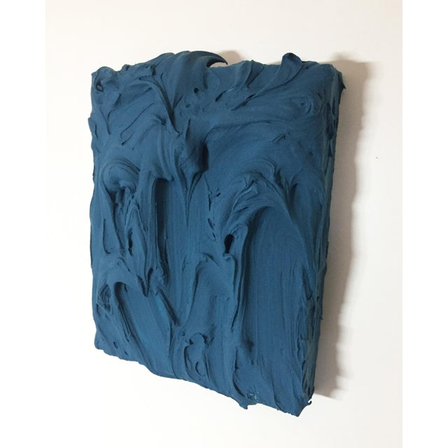 Abstract Deep Teal Excess Sculptural Painting For Sale - Image 3 of 11