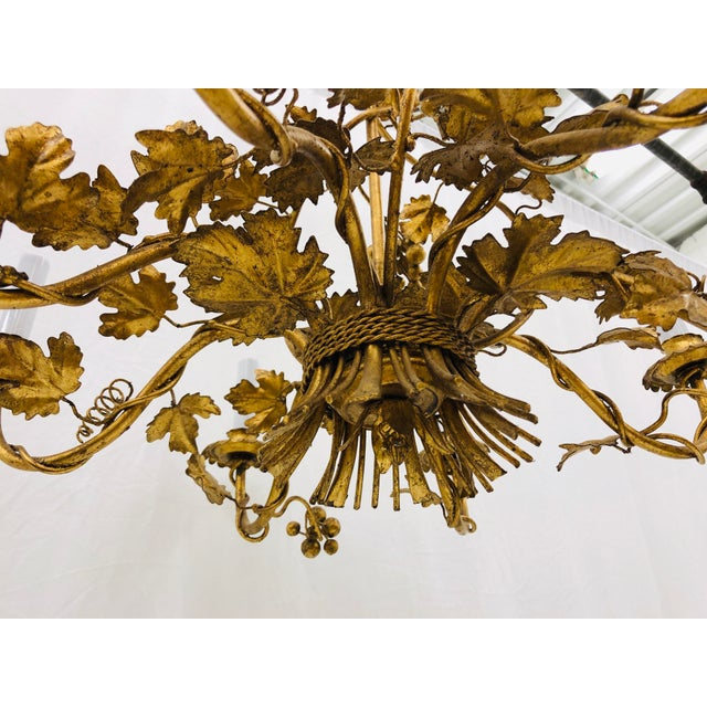 Antique French Gilded Ivy Chandelier For Sale In Raleigh - Image 6 of 13