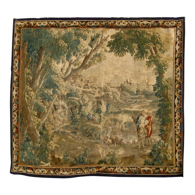 1700s French Aubusson Verdure Tapestry Wall Hanging For Sale