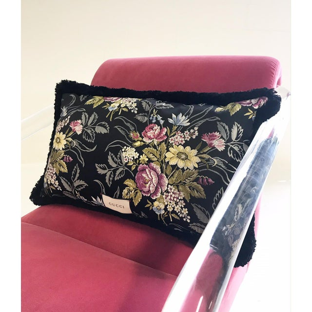 Lucite Vintage Lion in Frost Lucite Chairs Restored in Loro Piana Pink Velvet With Gucci Pillows - Pair For Sale - Image 7 of 11