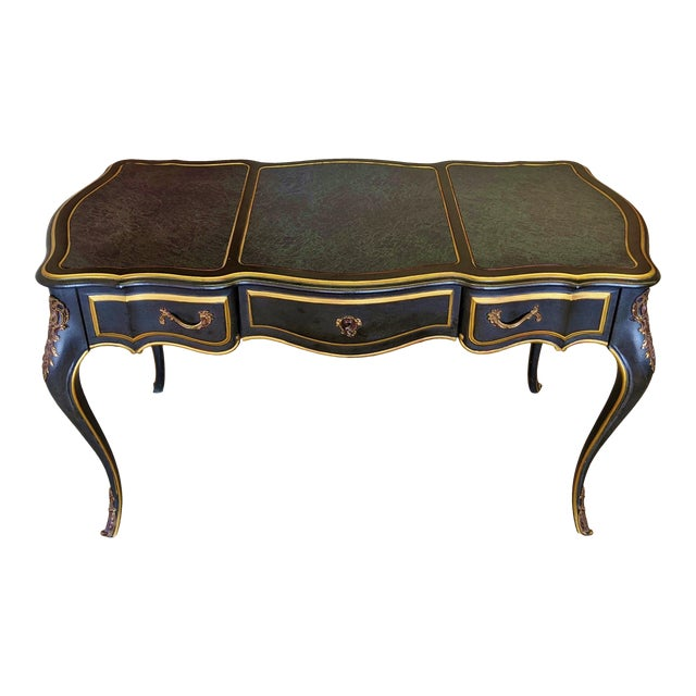 Vintage Louis XVI Style Bronze Mounted & Faux Marble Painted Top Blue Desk For Sale
