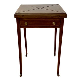 Vintage Inlaid Mahogany Envelope Folding Games / Side Table C.1940 For Sale