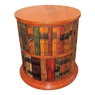 Tooled Leather Top and Leather Book Motif Round Accent Table For Sale