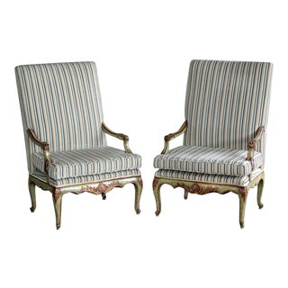 Danish Bergere Highback Chairs - a Pair For Sale