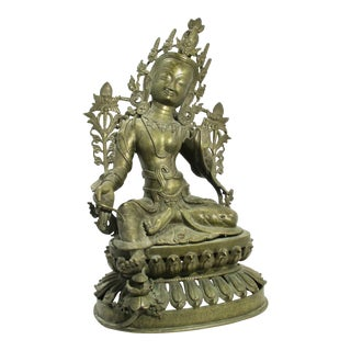 Early 20th Century Antique Nepalese Green Tara Brass Sculpture For Sale