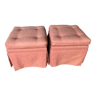 Vintage Pink Tufted Skirted Upholstered Ottomans-A Pair For Sale