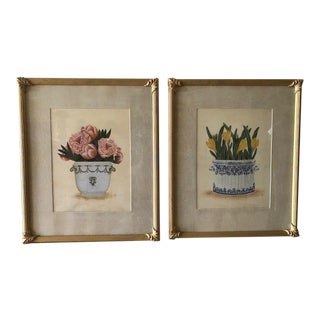 Florals in Vases Still Life Prints - a Pair For Sale