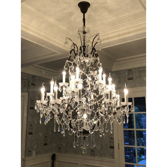 Rococo 19th Century Rococo Iron & Clear Crystal Round Chandelier For Sale - Image 3 of 5