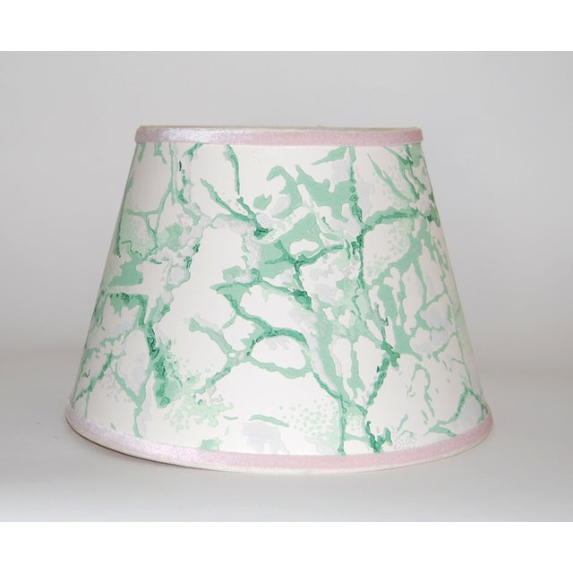 Green & White Marble Vintage Wallpaper Lampshade - Image 2 of 4