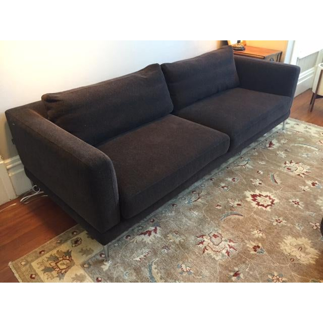 This is a beautiful and comfortable sofa. It is in excellent condition. The fabric is a rich chocolate brown that has a...