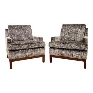 """1960's Milo Baughman Club Chairs in Kravet """"New Ideas"""" Velvet For Sale"""