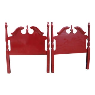 Hollywood Regency Georgian Gloss Red Twin Headboards - a Pair