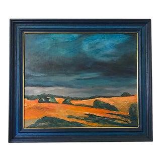 """Orange Fields, Blue Sky"" Landscape Painting For Sale"