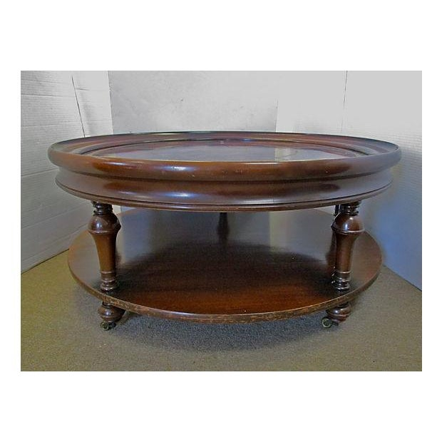 Two-Tiered Round Mahogany & Leather Coffee Table - Image 2 of 4