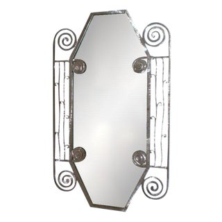 Edgar Brandt Inspired French Art Deco Steel Mirror For Sale