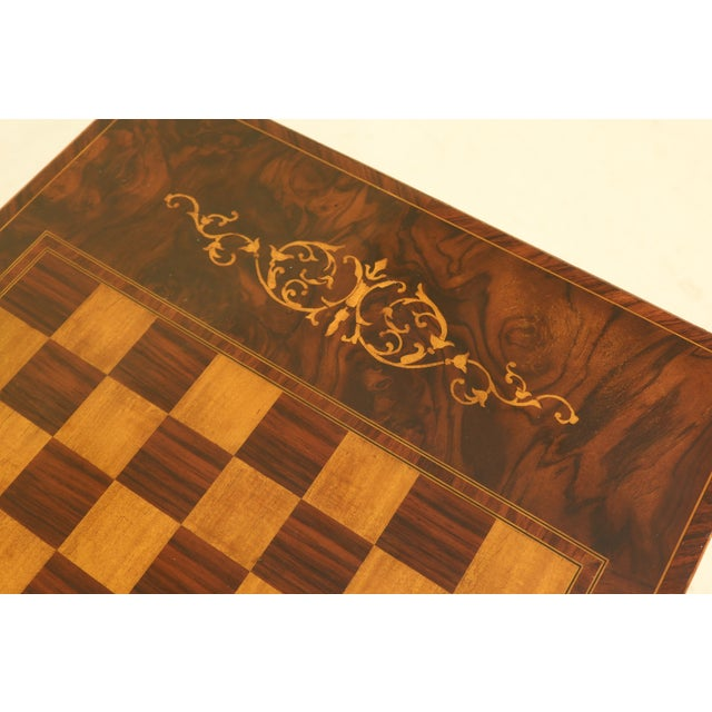 Traditional Maitland Smith Inlaid Walnut Games Table Top Occasional Table For Sale - Image 3 of 11