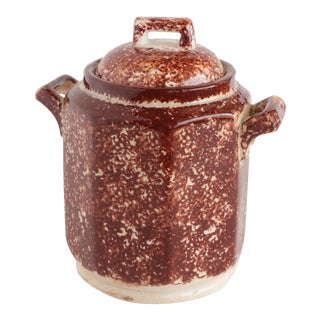 Staffordshire Brown Spongeware Lidded Vessel For Sale