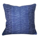 Image of Thibaut Wavelet Navy Pillow Cover For Sale
