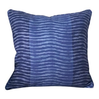 Thibaut Wavelet Navy Pillow Cover For Sale