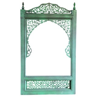 Moroccan Hand Carved Green Wooden Mirror For Sale