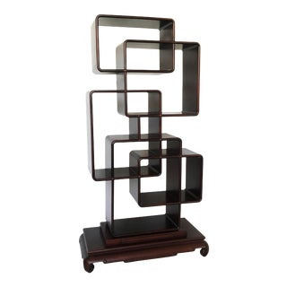 Chinese Asymmetrical Zitan Wood Collector's Shelf/Room Divider For Sale