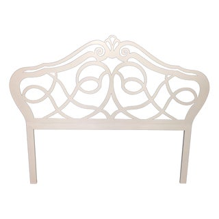 Vintage Shabby Chic Cream Iron Headboard For Sale